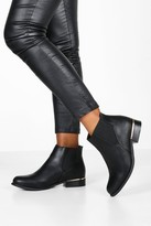 boohoo Wide Fit Metal Trim Chelsea Boots