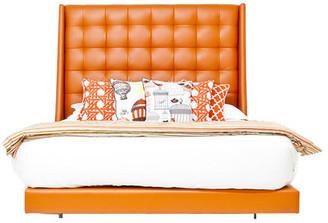 ModShop St Tropez Bed, Navy Faux Leather, Hermes Orange Faux Leather