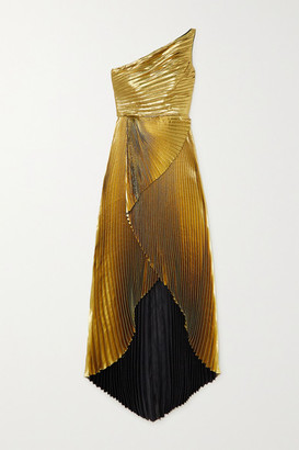 Semsem One-shoulder Pleated Silk-blend Lame Gown - Gold