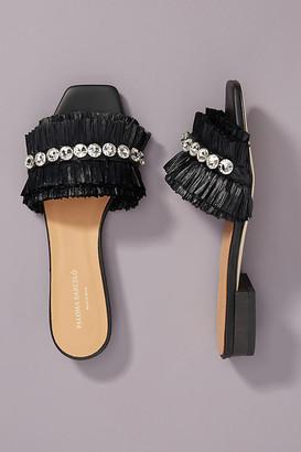 Paloma Barceló Raffia Slide Sandals By in Black Size 38