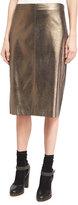 Brunello Cucinelli Metallic Leather Pencil Skirt, Light Brown