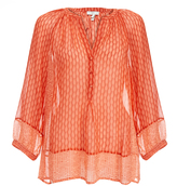 Joie Izzy B Orange Silk Printed Starfish Blouse