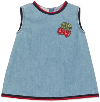 Gucci Baby denim dress with strawberries