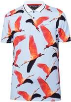 Ted Baker Men's Albatro Ss Flamingo Print Golf Polo