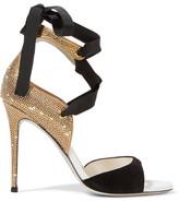 Rene Caovilla Crystal-embellished Suede Sandals - Black