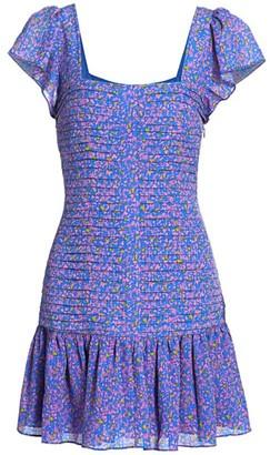 Tanya Taylor Yvette Confetti Print Smocked Mini Dress