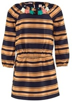 Scotch R'Belle Tan and Navy Stripe Tassel Dress