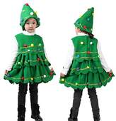 Kehen 2pcs Kid Girl Colorful Pom Pom Christmas Tree Shape Sleeveless Dress Vest Tops + Hat (6T
