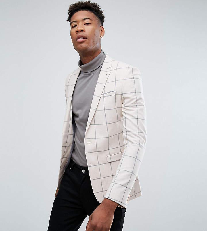 Asos Design Tall Super Skinny Blazer In Putty Windowpane Check