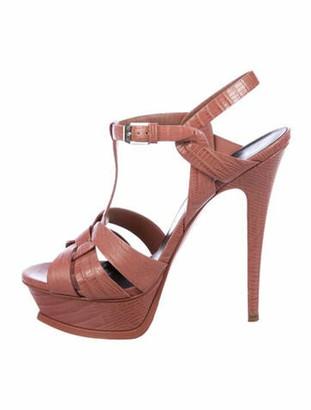 Saint Laurent Embossed Leather T-Strap Sandals Pink