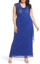 Alex Evenings Plus Size Women's Metallic Lace & Chiffon Gown