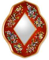Handcrafted Reverse Painted Glass Mirror, 'Red Summer Garden'
