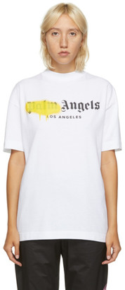 Palm Angels White and Yellow Los Angeles Logo Sprayed T-Shirt