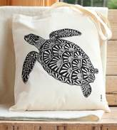 Bird Turtle Print Cotton Tote Bag