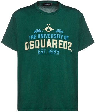 DSQUARED2 Oversize Printed Cotton Jersey T-Shirt
