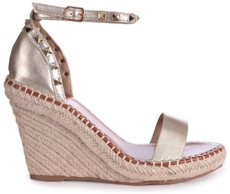 Linzi PROSECCO - Gold Espadrille Wedge With Studded Detail