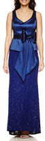 BLUE SAGE Blu Sage Sleeveless Belted Taffeta-Bodice Sequin-Lace Evening Gown