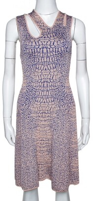 McQ Pink and Blue Crocodile Patterned Jacquard Fit and Flare Dress XS