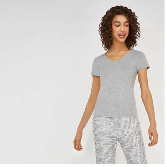 Joe Fresh Women's Essential V-Neck Tee, Light Grey Mix (Size XS)