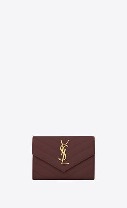 Saint Laurent Monogram Matelasse Slg Monogram Small Envelope Wallet In Grain De Poudre Embossed Leather Dark Legion Red Onesize