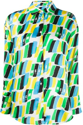 MSGM Brush Stroke Print Shirt