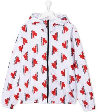DSQUARED2 TEEN Maple leaf-print jacket
