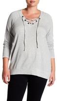 Bobeau Grommet Lace-Up Pullover (Plus Size)