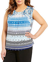 Allison Daley Plus Pleated Neck Sleeveless Printed Knit Top