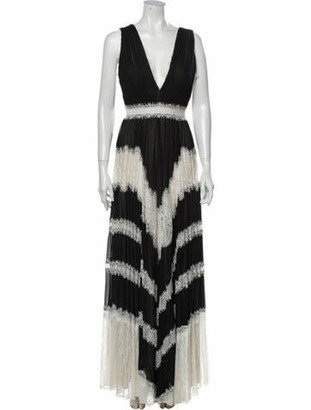 Alice + Olivia Printed Long Dress Black