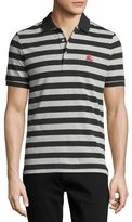 Burberry Striped Polo Shirt, Dark Charcoal/Pale Gray