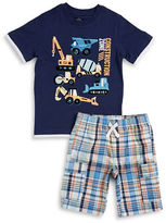 Kids Headquarters Boys 2-7 Little Boys Construction Graphic Tee and Plaid Shorts Set