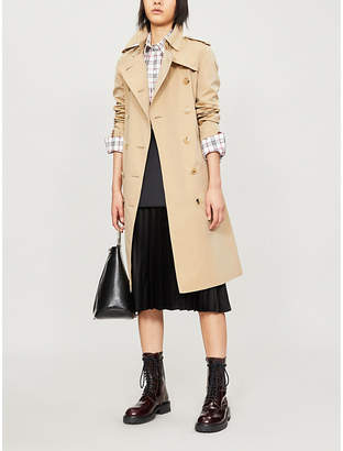 Burberry Protective Womens Beige The Kensington Heritage Check-Lined Cotton-Gabardine Trench Coat