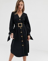 Asos Design DESIGN midi casual skater dress with contrast stitching with wooden belt