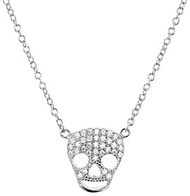 Aqua Sterling Silver Skull Pendant Necklace, 15 - 100% Exclusive