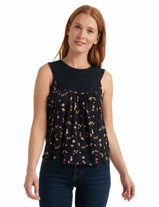 Lucky Brand Women's Sleeveless Crew Neck Printed Embroidered Yoke Tank