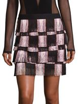 BCBGMAXAZRIA Fringed Mini Skirt