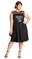 Women's Plus Size Sleeveless Sequin & Mesh Social Dress - Studio 1