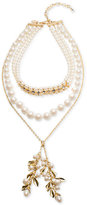 Carolee Gold-Tone Imitation Pearl Choker Lariat Necklace