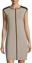 Neiman Marcus Sleeveless Striped Knit Dress, Beige