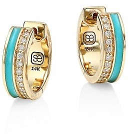 Sydney Evan Diamond, Turquoise Enamel & 14K Yellow Gold Huggie Hoop Earrings