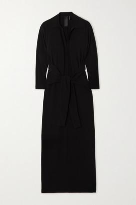 Norma Kamali Tie-front Stretch-jersey Maxi Dress - Black