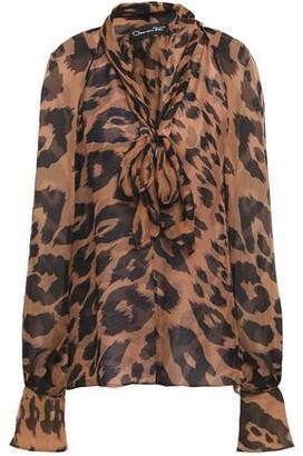 Oscar de la Renta Pussy-bow Leopard-print Silk-chiffon Blouse
