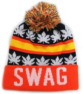 City Hunter Sk1162 Swag Leaves Pom Pom Beanie Hats (Navy/orange)