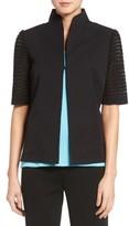 Ming Wang Women's Pointelle Sleeve Woven Jacket