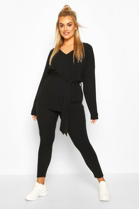 boohoo Plus Soft Rib Tie Waist Rope Legging Co-ord