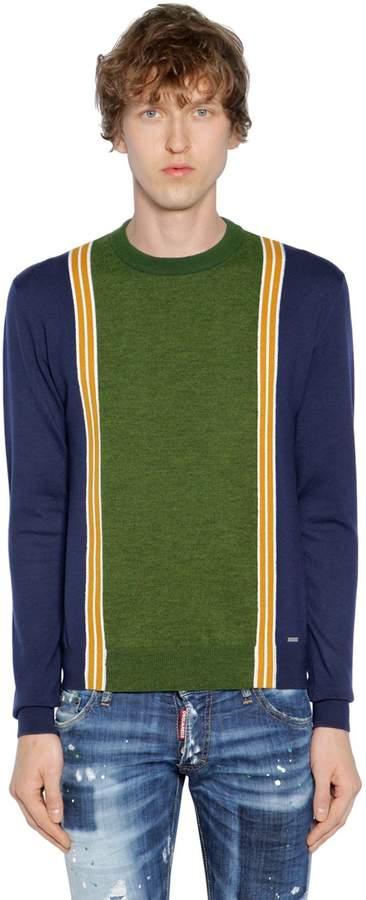DSQUARED2 Striped Wool Knit Jacquard Sweater