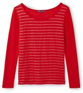 Petit Bateau Womens long-sleeved linen tee with shiny stripes