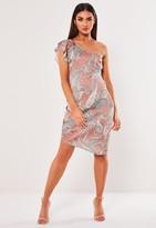 Missguided Pink Satin Paisley Print Asymmetric Dress