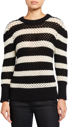 Frame Striped Open-Knit Crewneck Sweater
