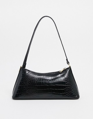 ASOS DESIGN black croc effect shoulder bag with hardware tabs